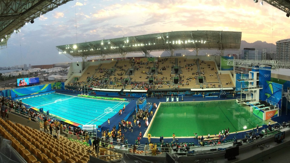 Combo photo of Olympic diving venue pool at Maria Lenk Aquatics Centre in Rio